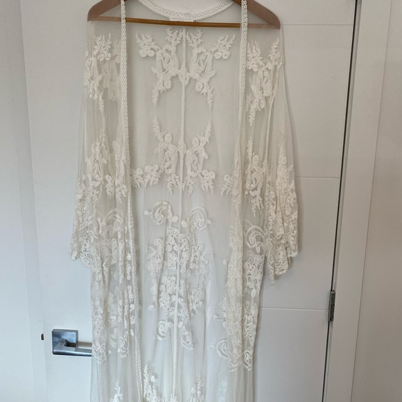 Lace pool cover up/robe/long cardigan